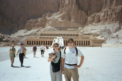 James and Miekka infront of the Temple of Hatshepsut