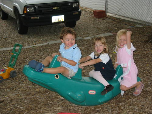 Seth, Sophie and Maggie on the Teeter-Todder
